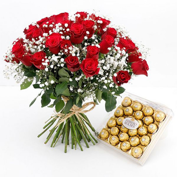 Bouquet of 25 Red Roses with Ferrero Rocher