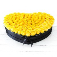 Yellow Rose Large Heart-shaped Box