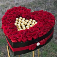 Red Roses and Ferrero Rocher Chocolates in Heart Shaped Box